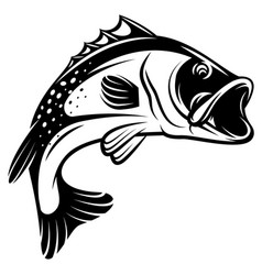 monochrome bass with fins vector image
