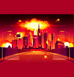 Nuclear explosion city metropolis mushroom cloud vector