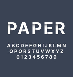 origami font white folded paper latin letters vector image