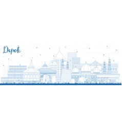 Outline depok indonesia city skyline with blue vector