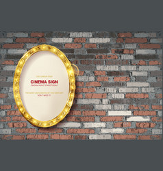 oval frame on brick wall background vector image