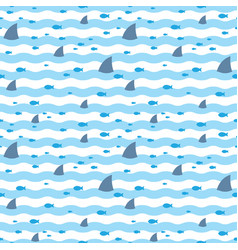 pattern fins sharks and fish floating in blue sea vector image