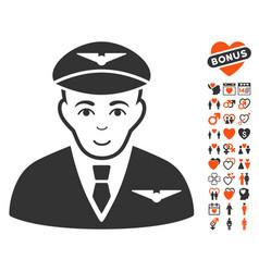 Pilot icon with valentine bonus vector