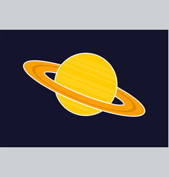planet icon on space logo vector image