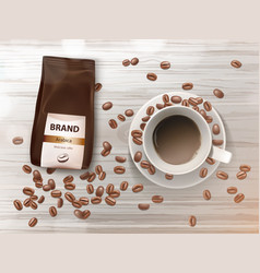 promotion banner with coffee cup and beans vector image