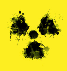 radioactivity danger sign made grunge splashes vector image