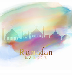 Ramadan background with mosque silhouettes on vector