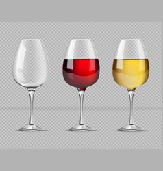 red and white wine glasses isolated vector image