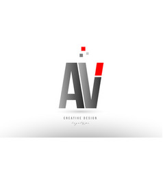 Red grey alphabet letter av a v logo combination vector