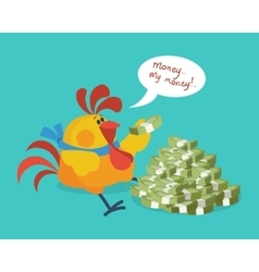 Rooster Bird Counts Money Cock Rich Businessman vector image