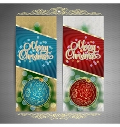 set cards with christmas ball tree and garland vector image