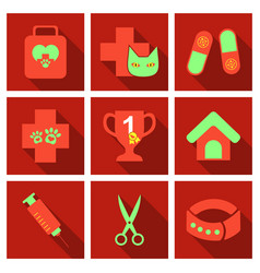 Set of flat icons veterinary science vector