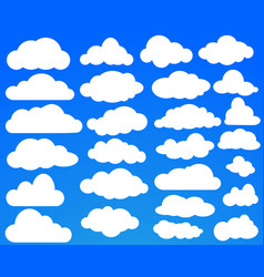 set of many white clouds on blue sky vector image