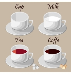 Set of white cups vector image