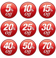 Shopping sale discount badge in red vector