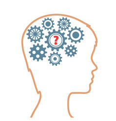 silhouette of human head with gears as brain and vector image