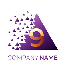 Silver number nine logo in purple pixel triangle vector