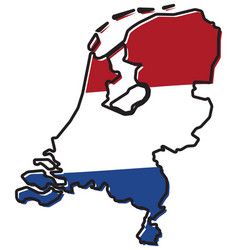 simplified map of netherlands outline with vector image