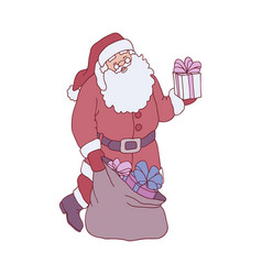sketch santa claus presents boxes bag vector image