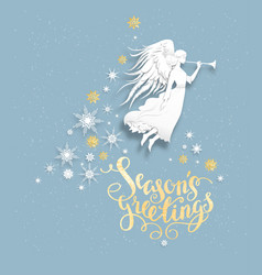 Snow greeting card with angel vector