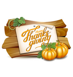 thanksgiving card with wooden banner and pumpkins vector image