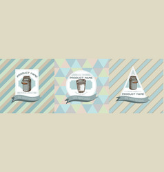 three colored labels with milk vector image