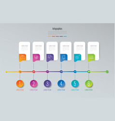 timeline infographics design with 6 options vector image