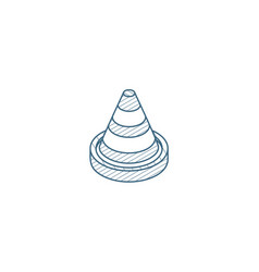 traffic cone isometric icon 3d line art technical vector image
