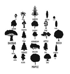 Tree icons set simple style vector
