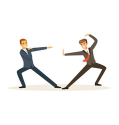 Two businessmen fighting business competition vector