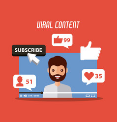 Viral content beard man in video suscribe like vector