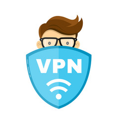 Vpn protect safety concept man and save vector