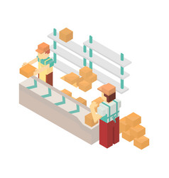 Warehouse conveyor with workers icon vector