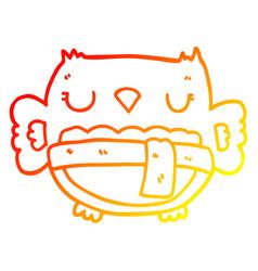 Warm gradient line drawing cartoon owl vector