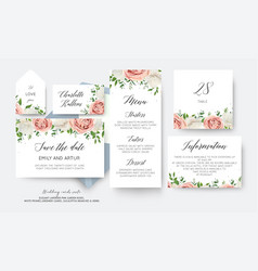 Wedding floral save the date menu label cards vector