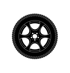 wheel with tyre black icon vector image