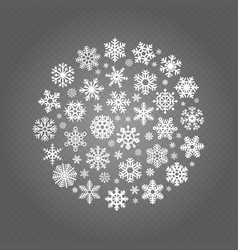 white snowflakes round banner isolated on vector image