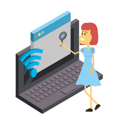 woman and technology isometric vector image