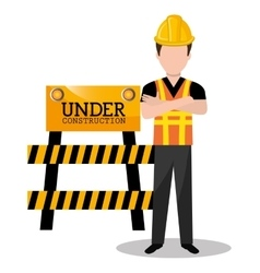 Worker builder man icon vector