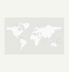 world map on gray circle dot pattern on white vector image