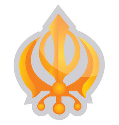 yellow symbol a sikhism religion on a white vector image