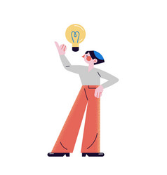 Young man standing and showing eureka gesture vector