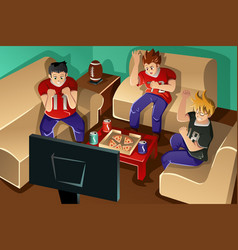 young people watching american football vector image