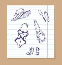 beach look sketch icons vector image vector image