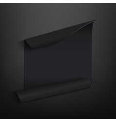 Black blank curved paper banner on black vector image vector image