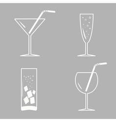 Drinks cocktails White icon set vector image