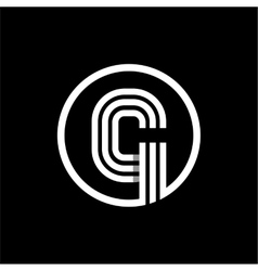 G capital letter of three white stripes enclosed vector image