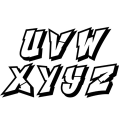 graffiti font alphabet part 3 vector image