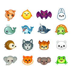 kawaii animals set ii vector image