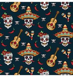 mexican skull pattern vector image